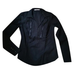GAS - Camicia in cotone nero con ampia apertura laterale