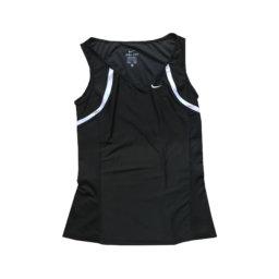 NIKE - Top sportivo in microfibra nero e bianco