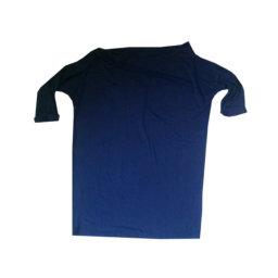Kontatto - Ampio top in viscosa e organico blu con scollo a barchetta
