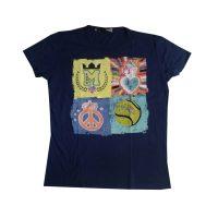 Love Moschino - Maglietta in cotone blu e stampa multicolore