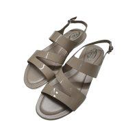 Tod's - Sandali in pelle verniciata grigio - 37.5/EU