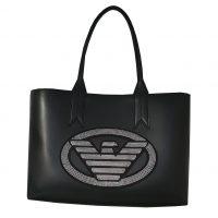 Emporio Armani - Shopping bag in pelle ecologica nero