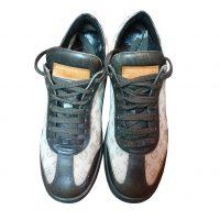 Louis Vuitton - EU/37.5 - Sneaker in pelle marrone e tela ecru a logo