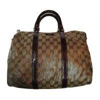Gucci - Borsa in pelle verniciata bordeaux e pelle pastificata ecru a logo