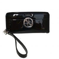 Guess - Portafoglio in vernice nero con gancio rimovibile