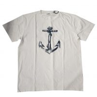Bomboogie - 3XL - T-shirt in cotone bianco con stampa frontale blu