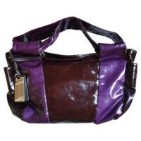 Coccinelle - Borsa a spalla in pelle lucida viola e marrone