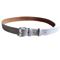 Max Mara - L - Cintura in pelle effetto serpente grigio ghiaccio