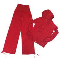 Deha - S - Completo pantalone e felpa in cotone rosso