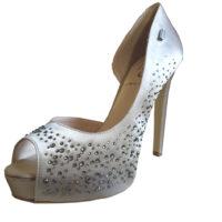 Liu.Jo - EU/38 - Open toe in raso beige con cristalli trasparenti