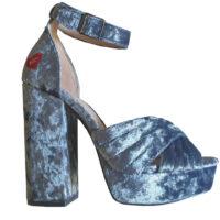 Fornarina - EU/36 - Sandali con tacco alto in velluto grigio blueto